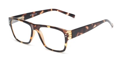 Angle of The Hazel in Tortoise, Women's and Men's Retro Square Reading Glasses