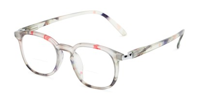 Angle of The Helena Bifocal in Grey Floral, Women's Round Reading Glasses