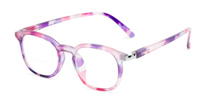 Angle of The Helena Bifocal in Purple/Pink, Women's Round Reading Glasses