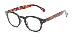 Angle of The Hemp in Black/Tortoise, Women's Round Reading Glasses