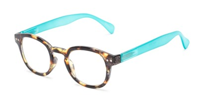 Angle of The Hemp in Tortoise/Blue, Women's Round Reading Glasses