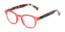 Angle of The Hemp in Red/Tortoise, Women's Round Reading Glasses