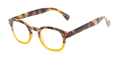 Angle of The Hemp in Tortoise/Yellow Fade, Women's Round Reading Glasses