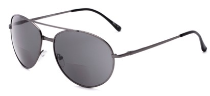Angle of The Hendrix Bifocal Reading Sunglasses in Grey with Smoke, Women's and Men's Aviator Reading Sunglasses