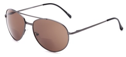 Angle of The Hendrix Bifocal Reading Sunglasses in Grey with Amber, Women's and Men's Aviator Reading Sunglasses