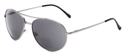 Angle of The Hendrix Bifocal Reading Sunglasses in Silver with Smoke, Women's and Men's Aviator Reading Sunglasses