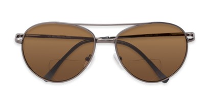 Folded of The Hendrix Bifocal Reading Sunglasses in Grey with Amber