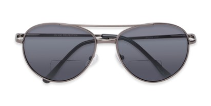 Folded of The Hendrix Bifocal Reading Sunglasses in Grey with Smoke