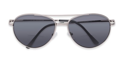 Folded of The Hendrix Bifocal Reading Sunglasses in Silver with Smoke