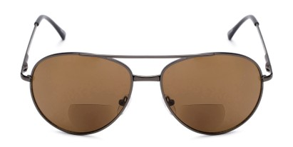 Front of The Hendrix Bifocal Reading Sunglasses in Grey with Amber