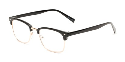 Angle of The Henrik in Glossy Black/Gold, Women's and Men's Browline Reading Glasses