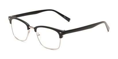 Angle of The Henrik in Matte Black/Grey, Women's and Men's Browline Reading Glasses