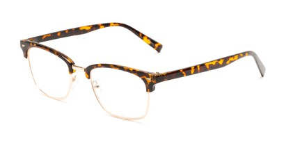 Angle of The Henrik in Glossy Tortoise/Gold, Women's and Men's Browline Reading Glasses