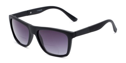 Angle of The Henry Bifocal Reading Sunglasses in Black with Smoke, Men's Retro Square Reading Sunglasses