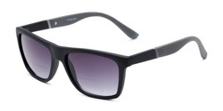 Angle of The Henry Bifocal Reading Sunglasses in Black/Grey with Smoke, Men's Retro Square Reading Sunglasses