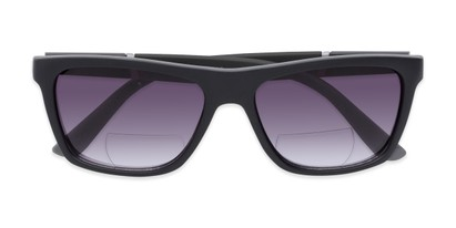 Folded of The Henry Bifocal Reading Sunglasses in Black with Smoke