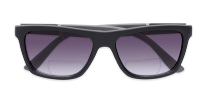 Folded of The Henry Bifocal Reading Sunglasses in Black/Grey with Smoke