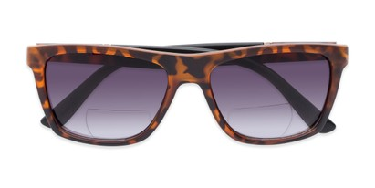 Folded of The Henry Bifocal Reading Sunglasses in Tortoise/Black with Smoke