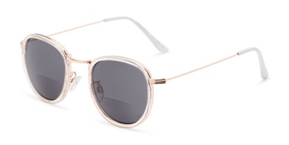 Angle of The Hitch Bifocal Reading Sunglasses in Clear/Gold with Smoke, Women's and Men's Round Reading Sunglasses