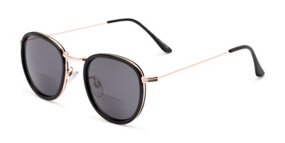 Angle of The Hitch Bifocal Reading Sunglasses in Black/Gold with Smoke, Women's and Men's Round Reading Sunglasses
