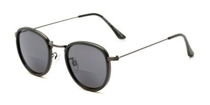 Angle of The Hitch Bifocal Reading Sunglasses in Grey with Smoke, Women's and Men's Round Reading Sunglasses