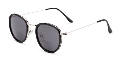 Angle of The Hitch Bifocal Reading Sunglasses in Black/Silver with Smoke, Women's and Men's Round Reading Sunglasses