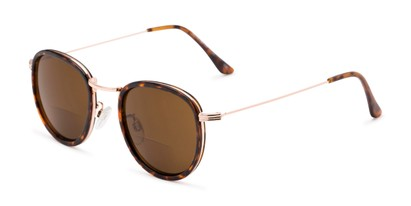 Angle of The Hitch Bifocal Reading Sunglasses in Tortoise/Gold with Amber, Women's and Men's Round Reading Sunglasses