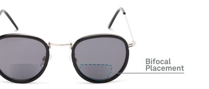 Detail of The Hitch Bifocal Reading Sunglasses in Black/Silver with Smoke