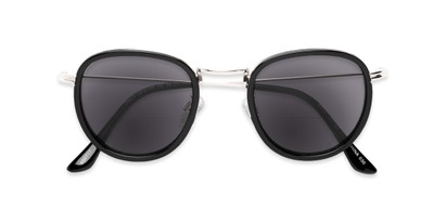 Folded of The Hitch Bifocal Reading Sunglasses in Black/Silver with Smoke