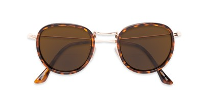 Folded of The Hitch Bifocal Reading Sunglasses in Tortoise/Gold with Amber