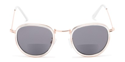 Front of The Hitch Bifocal Reading Sunglasses in Clear/Gold with Smoke