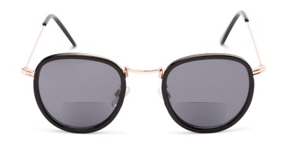 Front of The Hitch Bifocal Reading Sunglasses in Black/Gold with Smoke