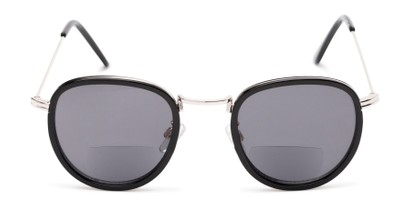 Front of The Hitch Bifocal Reading Sunglasses in Black/Silver with Smoke