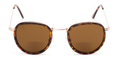 Front of The Hitch Bifocal Reading Sunglasses in Tortoise/Gold with Amber