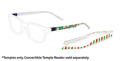Front of The Classic Holiday 2-Set Convertible Temple Add-On Pack in Holiday Stripe Print / Dancing Santa Print