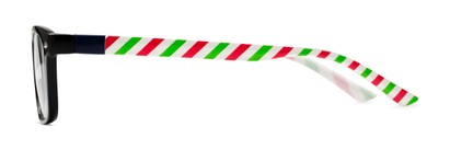 Side of The Classic Holiday 2-Set Convertible Temple Add-On Pack in Holiday Stripe Print / Dancing Santa Print
