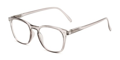 Angle of The Homer in Translucent Grey, Women's and Men's Square Reading Glasses