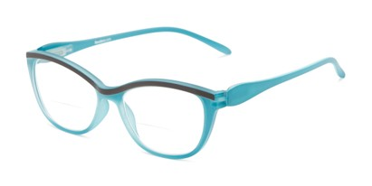 Angle of The Honor Bifocal in Matte Blue/Grey, Women's Cat Eye Reading Glasses
