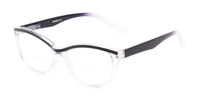 Angle of The Honor Bifocal in Glossy Clear/Navy, Women's Cat Eye Reading Glasses