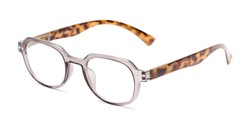Angle of The Hoosier in Clear Brown/Tortoise, Women's and Men's Round Reading Glasses