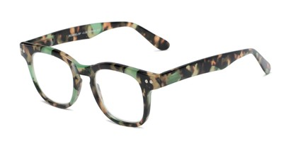Angle of The Hopper in Green/Brown Tortoise, Women's and Men's Retro Square Reading Glasses