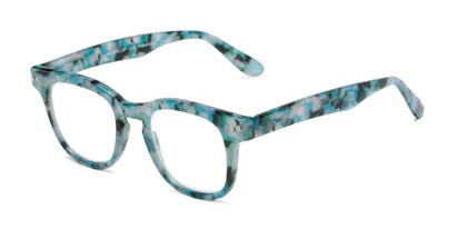 Angle of The Hopper in Blue Tortoise, Women's and Men's Retro Square Reading Glasses