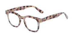 Angle of The Hopper in Grey/Yellow Tortoise, Women's and Men's Retro Square Reading Glasses