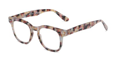 Angle of The Hopper in Yellow/Pink Tortoise, Women's and Men's Retro Square Reading Glasses