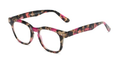 Angle of The Hopper in Pink/Brown Tortoise, Women's and Men's Retro Square Reading Glasses