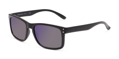 Angle of The Ingle Reading Sunglasses in Black with Blue/Grey Mirror, Men's Rectangle Reading Sunglasses