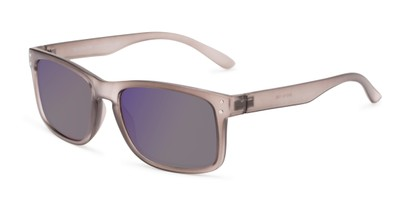 Angle of The Ingle Reading Sunglasses in Grey with Blue/Grey Mirror, Men's Rectangle Reading Sunglasses