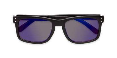 Folded of The Ingle Reading Sunglasses in Black with Blue/Grey Mirror