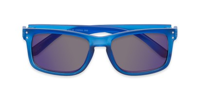 Folded of The Ingle Reading Sunglasses in Blue with Blue/Grey Mirror