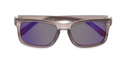 Folded of The Ingle Reading Sunglasses in Grey with Blue/Grey Mirror